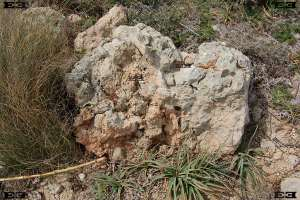 ancient masonry cementum concrete conglomerate stones boulders