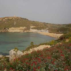 Gnejna Bay Malta Mgarr beach Lippia Tower photographs and possible sun observatory solar observation platform