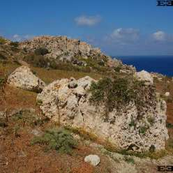 Malta's Gnejna Bay near Mgarr with Megaliths and an astronomy observatory