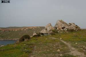so sickly tilted rocks boulders natural sun observatories near Golden Bay Malta