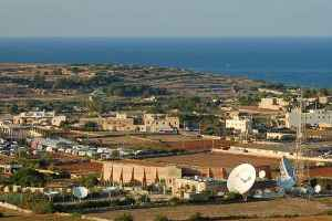 the accoustic radar pre world war 2 British facility known as the ear, Il Widna, Malta. View towards Siciliy, Italy where it detected the enemy aircraft approaching